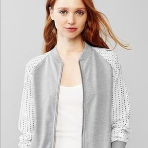 Gap Heather Grey eyelet zip up jacket size large